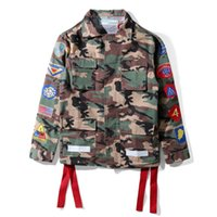 Wholesale Long Military Coats For Women - Off White Patch Jacket For Men Arrows Printed Camouflage Military Jackets Winter Windbreaker Coats Outwear Men Women Streetwear PXG0712