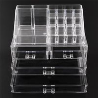 Wholesale Acrylic Drawers Wholesale - Acrylic Cosmetic Makeup Organizer Jewelry Display Boxes Bathroom Storage Case 2 Pieces Set W  4 Large Drawers Free Shipping