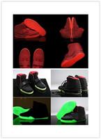 обувь для танцев оптовых-Дешевые 2017 Оптовая 5 цветов Kanye West Air 2 ii Черный Красный Октябрь Зеленый Фонарь свечение в темноте мужчины баскетбол обувь кроссовки
