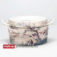 Wholesale Prime Enameled Cast Iron Covered Dutch Oven Casserole White Color Painting Enamel Cookware Round Doufeu one hundred horses left