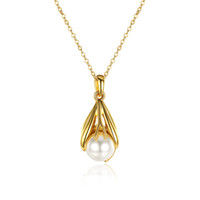 Classic Simulated Pearl Necklace Pendant 2016 New Fashion 18K ouro amarelo banhado a colar Mulheres Beautiful Water Drop Pearl Jewelry Girl Gift