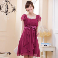 Wholesale Clothing For Bridesmaids - Purple Champagne and Black color Plus size women clothing cap sleeve slim chiffon short bridesmaid dress for wedding