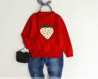 Wholesale Knit Strawberry - 2017 Autumn New Baby Girl Knitting sweater Strawberry long sleeve pullover Children Clothes 2-7T 318911