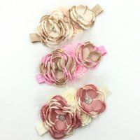 Wholesale Double Flower Baby Headbands - Double Color Combo Satin Flower Headband Matching Sparking Rhinestones Baby Girl Hair Accessory Hot Sale Queenbaby