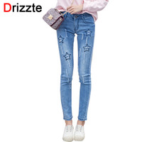 Wholesale Cotton Trousers For Women - Wholesale- Drizzte Womens Stretch Denim Skinny Jeans Stars Tassel Ripped Trousers Pants Jean for Women 26 27 28 29 30 31