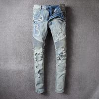 Wholesale Wear Jeans - New Mens B biker jeans Distressed Moto Biker Denim Jean Slim Style Stretchy Fit Good wear