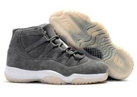 Wholesale New Basketball Shoe Releases - New Release Retro 11 Suede Men Basketball Shoes 11s Gray Suede Sports Sneakers High Quality With Shoes Box
