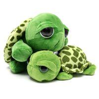 Wholesale Stuffed Turtles Big Eyes - Wholesale-Cute Big Eye Series Tortoise Doll Turtle Stuffed Plush Sweet Animal Family Soft Cotton Toy Baby Kid New Year Gift Home Car Decor