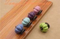 Wholesale Colorful Drawer - 2016 new Sky blue Purple Green Pink Pastoralism pumpkin ceramic door knob kids cabinet handle kitchen and drawer single colorful pulls#006