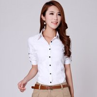 Wholesale Short Sleeve Shirt Office - Korean OL Occupation Slim Waist Short Sleeved Blouses Plus Size Women Office Work Casual Cotton Shirts