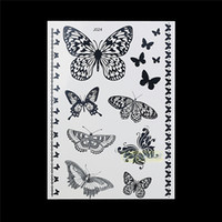 Venta al por mayor-1PC Moda Flash impermeable Tatuaje mujeres Negro Tinta Henna Jewel Sexy Lace BJ024 Mariposa pulsera ChainTemporary Tattoo Sticker