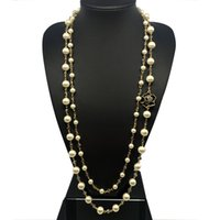 Wholesale double chain circle gold necklace - rand necklace CNANIYA Brand Double Layer Simulated Pearl Long Necklace For Women Jewelry Bijoux Collier De Perles Collar De Perlas Bijout...
