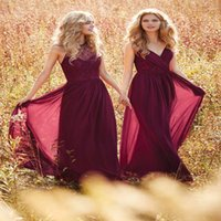 Wholesale Vestido Longo Peplum - Burgundy Bridesmaid Dresses Halter V Neck Prom Dress Long Evening Gowns boho wedding dress Country Western Wedding vestido longo Custom Mad