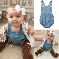 Wholesale Posh Clothing - Infant Baby Girls boutique Clothes Denim ruffle romper tops bubble Playsuit candy onesies Aprons Bodysuit porn Jumpsuit next clothing posh