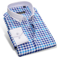 Wholesale Purple Check Shirt - Wholesale- CAIZIYIJIA 2017 Men's Long Sleeve Contrast Plaid Checked Shirts With White Square Collar Casual Slim-fit Button-Down Dress Shirt
