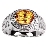 gümüş oval ring erkek toptan satış-Doğal Sarı Citrine 925 Gümüş Yüzük Erkekler Ayar 8x10mm Oval Şekil Taş Takı Kasım Birthstone R504GCN