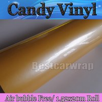Wholesale car love stickers - Spring Love - Yellow Gloss Candy Vinyl Car Wrap Film with air Free Vehicle Wrap Covering foil Auto skin Like 3m 1080 FOIL Size:1.52*20M Roll