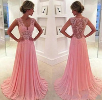 Wholesale Runway Dresses For Girls - cheap evening dresses A-line sexy v-neck appliqued backless hollow ruched sleeveless sweep train beach dress for girls party dress
