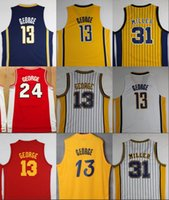 Wholesale Men S Red Stripe Shirt - Throwback Killer #31 Reggie Miller Stripe Basketball Jerseys 13 Paul George Classic Red Retro Stitched Shirts Basketball Jersey MENS S-XX
