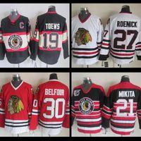 Wholesale Belfour Jersey - Chicago Blackhawks Hockey Jersey stitched #19 Jonathan Toews 21 Stan Mikita 27 Jeremy Roenick Ed Belfour Jersey Vintage Ice Hockey jerseys