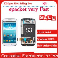 Wholesale Galaxy S3 Screen Digitizer Bluer - Good quality for Samsung Galaxy S3 i9300 i9305 i747 T999 i535 White and blue Touch LCD Screen Digitizer + Frame Replacement Fast Shipping
