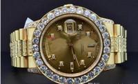ver diamantes personalizados al por mayor-envío shippng al por mayor Proveedor de la fábrica NUEVO reloj de pulsera de lujo de calidad superior Presidente 18K oro amarillo Custom Diamond reloj bisel 39m