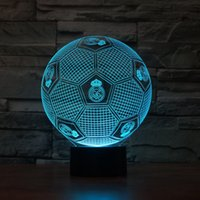Wholesale Led Light Changable - Free Shipping 3D LED Night Light Real Madrid Club Football Color Changable