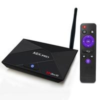 Wholesale hd media player usb - Genuine A5X Pro RK3328 Quad Core 64bit 2GB 16GB Android 8.1 TV Box USB 3.0 Dual wifi 4K Ultra media player
