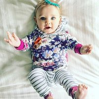 Wholesale Free Shipping Clothing Playsuit - Newborn Autumn Clothing Set Toddler Tracksuit Kids Floral Printing Hoodies+Striped Pants Playsuit Girls Clothing Sets Free shipping
