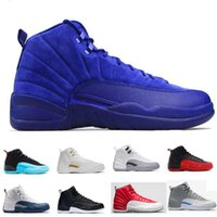 High Quality Air Retro 12 Premium Deep Royal Blue Suede 12s Preto Nylon Basketball Shoes Men Sports Shoes Sneakers Boots