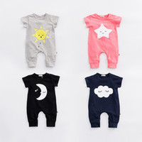 Wholesale New Arrival Summer Girls - New Arrivals summer baby kids climbing romper baby kids 100% cotton boy girl short sleeve Sun Moon Star Cloud print romper 0-2T