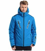 Wholesale Suit Thermal Male - Wholesale- 6 colors 5 sizes male waterproof breathable windproof skiing jacket+suspender pant winter thermal snowboarding skiing suit set