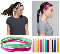 Wholesale Elastic Sport Hair Band - Double Sports Elastic Headband Softball Yoga Anti-slip Silicone Rubber Hair Bands Bandage On Head For Hair Scrunchy