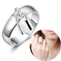 Wholesale Cheap Sterling Silver Fashion Rings - Fashion Jewelry 1Pcs Mini Lock with Simple Design Round Ring Plating 925 Sterling Silver Rings for Ladies Women Accessories Cheap Jewelry