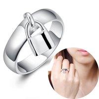 damen-verschluss ring großhandel-Modeschmuck 1 Stücke Mini Lock mit Einfache Design Runde Ring Überzug 925 Sterling Silber Ringe für Damen Frauen Zubehör Günstige Schmuck