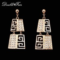 Wholesale Classic Vintage Earrings Wholesale - Exaggerated Austrilian Crystal Party Stud Earrings Classic Ethnic 18K Gold Plated Fashion Brand Vintage Jewelry For Women Anniversary DFE142