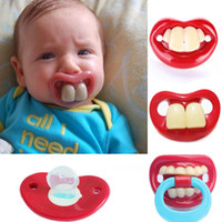 Wholesale Novelty Soother Teeth - Wholesale-1 PC 2016 New funny pacifiers silicone baby pacifier cute Novelty Teeth Moustache Baby clips soother pacifier Nipple 6 styles