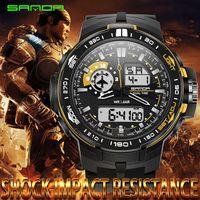Wholesale modern acrylic - SANDA Digital LED Men Quartz Sports Watch Strap Rubber Army Military Quartz-watch Clock Waterproof Wrist Men's Relogio Masculino