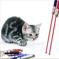 varas claras brancas venda por atacado-2em1 Vermelho Laser Pointer Pen Anel Chave com Luz LED Branco Show Infravermelho Portátil Vara Crianças Gatos Engraçados Brinquedos Para Animais de Estimação
