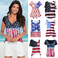 Wholesale American Flag Shorts Women - Women American Flag Loose 4th Of July short sleeve T-shirt Tops Blouse Plus Size