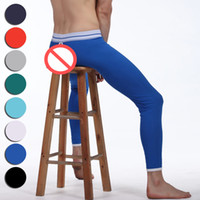Wholesale Mens Spandex Pants Pouch - Thermal Underwear Mens Spandex Leggings Long Johns Pants Fashion Sexy Mens Pouch Tights Back Open Hollow Underwear Pants