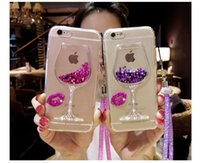 Wholesale Bling Glasses Case - 3D Liquid Quicksand Bling Rhinestone Wine Glass Pattern Phone Case with Hang Rope For Huawei p8 p9 lite Mate7 8 P9 p9 plus