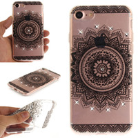Barato Diamante Sparkle Telefone Casos-TPU IMD Luxo Sparkling Diamond Soft Mandala Flowers Case para iPhone 7 Plus Samsung Galaxy S8 Plus Case Capa ultrafina