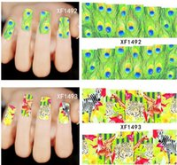 Wholesale Tiger Water Decal Nail - Mixed Animal Series Leopard Tiger Peacock Decals Nail Art Sticker Water Transfer Sexy Full Wraps 50pcs free shpping