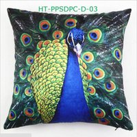 Wholesale Peacock Print Pillow Cases - Peacock Feather Printed Pillow Case Cushion Satin Peach Pillow Cover Cushion Case Pillowslip 45cm x 45cm