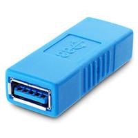 cabo sata 6gb venda por atacado-USB 3.0 Tipo A Fêmea para Um Adaptador de Conector Fêmea USB3.0 AF para AF Acoplador Conversor Fender F Gênero Extender para Laptop impressora
