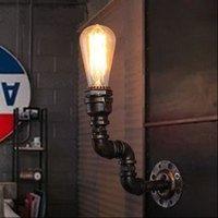 edison tarzı ışık fikstürleri toptan satış-Stil Loft Antika Duvar aplik Demir Endüstriyel Vintage Duvar Işık Fikstür Edison Stil Su Borusu Duvar Lambası Aplike Armatür Aydınlatma