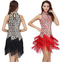 Wholesale Sequin Fringe Dance Dress - Party Fringe Latin Dance Dress Sequin Club Singer Dress Stage Women Latin Dress Performance High Collar Latin Costume Dresses Dancewear