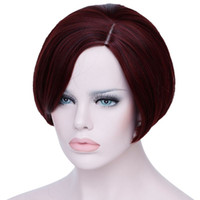Straight 8 Under $30 Short Wine Red Wigs For Black Women Heat Resistant Synthetic Hair Wigs For African Americans Natural Fake Hair