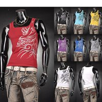 Wholesale Tattoo Vest Top - Wholesale- Hot Sale 2016 Men's Casual Tank Top T-Shirts Undershirt Dragon Tattoo Tank Tops Skinny Man Muscle Vest Tee 9 Colors 4 Sizes U0